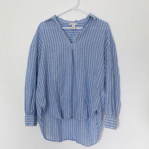 H&M Blue White Striped Oversized Long Sleeve XS